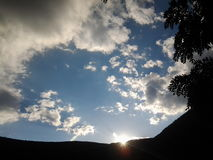 Mountain trees sky. Landscape nature forest sky sun evening good fun Stock Photography