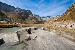 Mountain trekking Stock Images