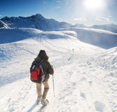 Mountain trekking. In the winter Royalty Free Stock Photography