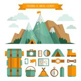 Mountain trekking, hiking, climbing and camping equipment. Object set. Hiking trail concept, flat style. royalty free illustration