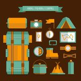 Mountain trekking, hiking, climbing and camping equipment. Object set, flat style. royalty free illustration
