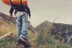 Mountain trekking man Royalty Free Stock Photography