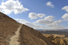 Mountain trekking in Negev desert. Stock Images