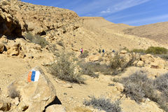 Mountain trekking in Negev Desert, Israel. Stock Photos
