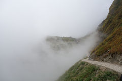 Mountain trekking path. With fog Royalty Free Stock Images