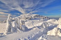 Mountain trail. Winter path leading to the top of the mountain in Slovakia royalty free stock photography