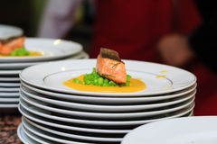 Mountain trout Orientale, stewed in orange sauce with green grain cream fitness Stock Photos