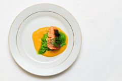 Mountain trout Orientale, stewed in orange sauce with green grain cream fitness Stock Images