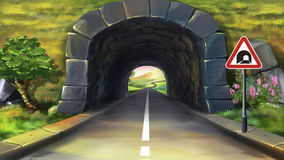Mountain tunnel. Digital painting of the Mountain tunnel stock illustration