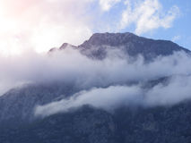 Mountain in Turkey, Antalya Kemer. In sunset time in winter Royalty Free Stock Photos