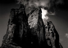 Mountain Under Clouds in Grayscale Photography Stock Images