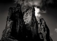 Mountain Under Clouds in Grayscale Photography Stock Photos