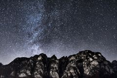Mountain Under Starry Sky During Nighttime Stock Image