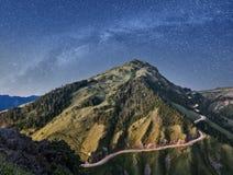 Mountain under stars Stock Image