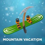 Mountain vacation green snowboard and kirk's on blue background Stock Images