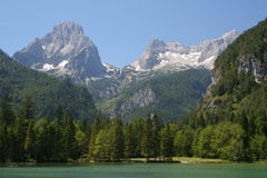 Mountain valley. View of the mountains from the lake in tha valley Royalty Free Stock Photos