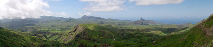 Mountain and valley. Island of Santiago, Serra Malageta, Cape Verde. Panorama, make it from 20 photo Royalty Free Stock Photography
