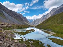 Mountain valley. The valley of a mountain river Stock Photo