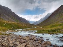 Mountain valley. The valley of a mountain river Stock Images