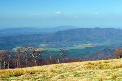 A mountain valley from above. Cades Cove from Gregory Bald in the Smoky Mountains Royalty Free Stock Image