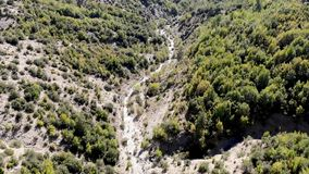 Mountain valley aerial shot. T Aerial shot stock footage