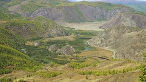Mountain Valley in the autumn mountains. Fall in Mountains.Valley of the Chuya River. Altai. Siberia stock footage
