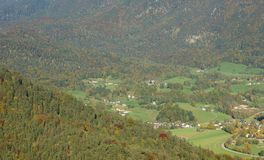 Mountain and valley in autumn Stock Photo