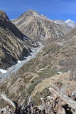Mountain valley with beautiful blue sky. Nepal Stock Image
