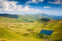 Mountain Valley with Blue Lake in summer, Landscape Royalty Free Stock Photo