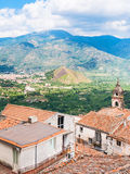 Mountain valley and Castiglione di Sicilia town Royalty Free Stock Photography