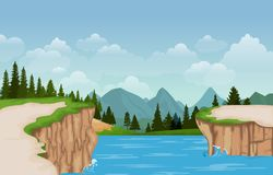 Free Mountain Valley Cliff Tree Nature Landscape Vector Illustration Stock Photos - 153251473