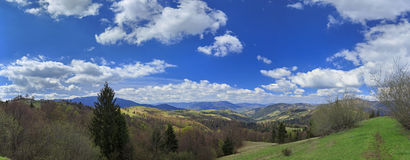 Mountain valley with clouds in Carpathians Royalty Free Stock Photography