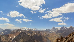 Mountain valley in the clouds. TimeLapse. Pamir,. Tajikistan. Video. UltraHD (4K stock footage