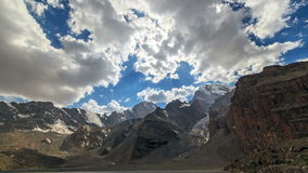 Mountain valley in the clouds. TimeLapse. Pamir,. Tajikistan. Video. UltraHD (4K stock video