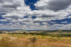 Mountain valley with a cloudy sky. Natural summer landscape. Royalty Free Stock Photography