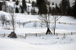 Mountain valley covered fresh snow Stock Photography