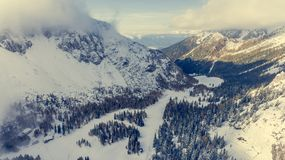 Mountain valley covered with fresh snow. Stock Photography