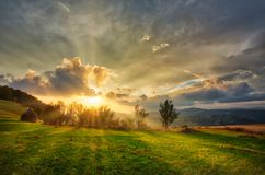 Mountain Valley During Sunset Royalty Free Stock Photo