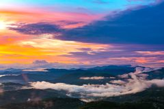Panorama of the coast from the observation tower on Mount Akhun. royalty free stock images