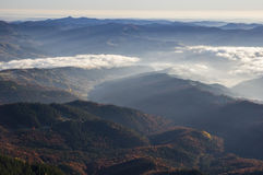 Mountain valley and forest fog. Mountain valley, fog over the forest, aerial view Stock Photo
