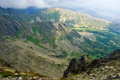 Mountain valley on a high tatra mountains stock image