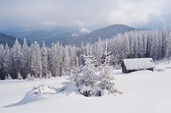Mountain Valley In Winter Royalty Free Stock Photos