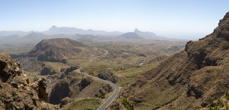 Mountain and valley. Island of Santiago, Serra Malageta, Cape Verde. Panorama, make it from 12 photo Royalty Free Stock Images