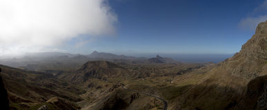 Mountain and valley. Island of Santiago, Serra Malageta, Cape Verde. Panorama, make it from 10 photo Stock Photos