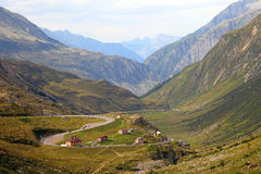Mountain valley landscape. Mountain landscape of swiss Alps, Europe Stock Images