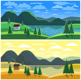 Mountain valley landscape in two seasons Royalty Free Stock Images