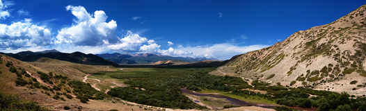 Mountain valley panorama Royalty Free Stock Image