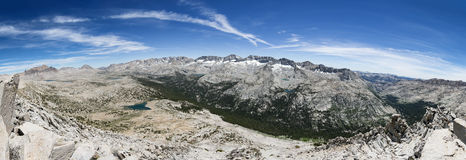 Mountain Valley Panorama. Panorama of a mountain valley from Pilot Knob looking over the Humphreys Basin and Glacier Divide in the Sierra Nevada Mountains Royalty Free Stock Photo