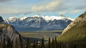 Mountain Valley. A picture of a valley nestled between some snow capped mountains in the Canadian Rockies Royalty Free Stock Images