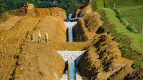 Mountain Valley Pipeline, Bent Mountain, Virginia, USA. Roanoke County, Virginia USA – July 29th: Mountain Valley Pipeline construction site located next royalty free stock photography